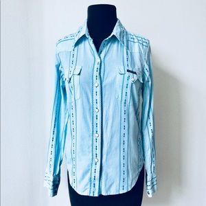 ❗️Lucky Brand Blue ButtonDown Western Top MSRP $98